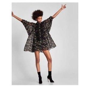 NWT Zara Loose Floral Romper Short Jumpsuit
